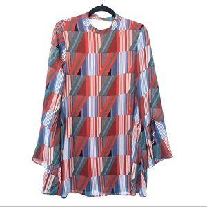 LULUS abstract print longsleeve midi dress P23